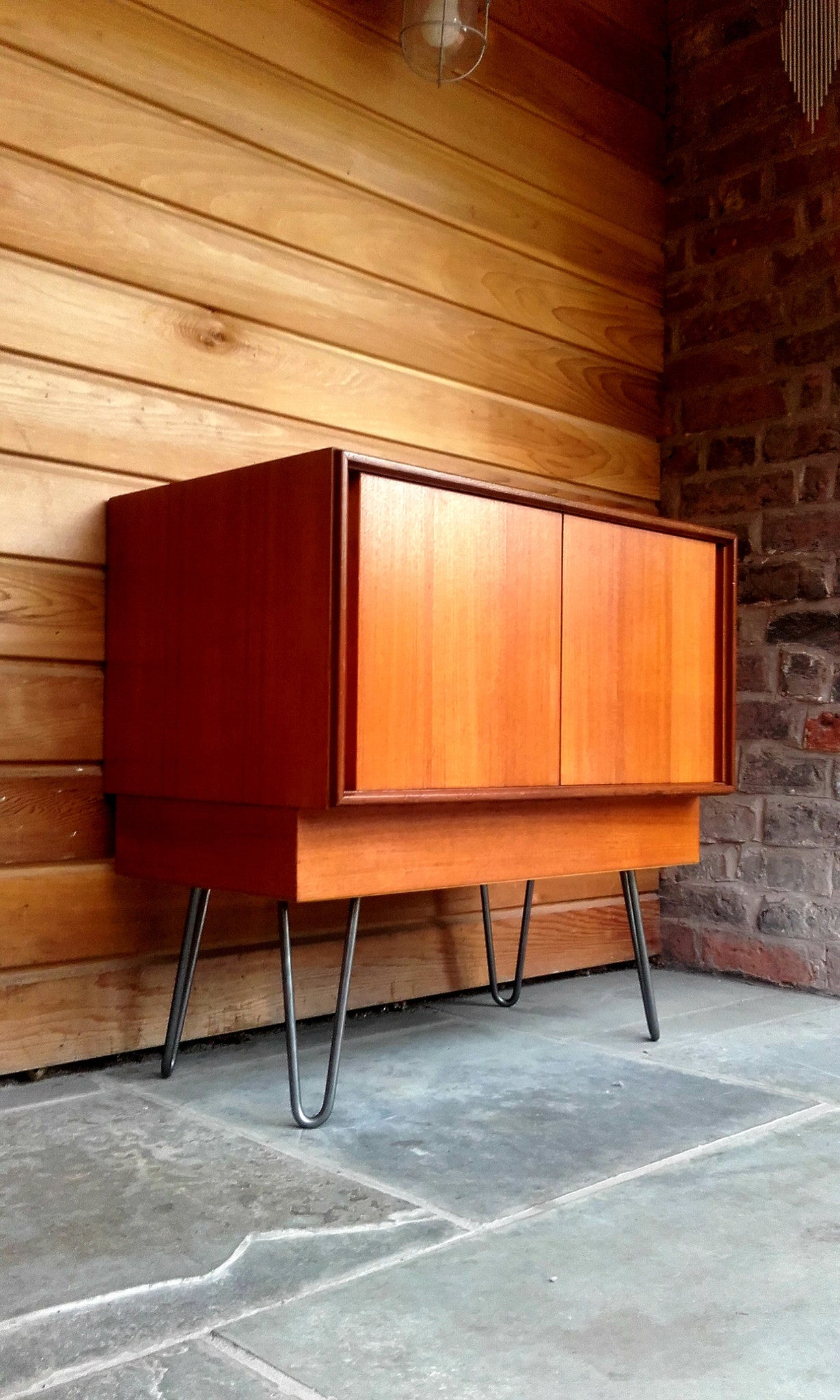 Stylish G Plan Form 5 Sliding Door Cabinet On Industrial Hairpin