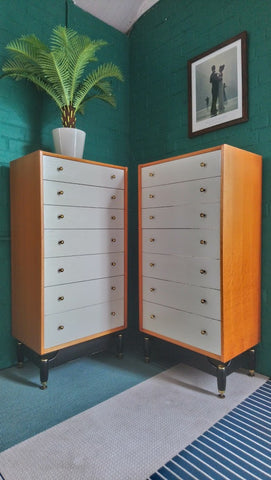 "Pair Of G-Plan ""Chinese White"" 7 Drawer Tall Boy Chests Of Drawers"