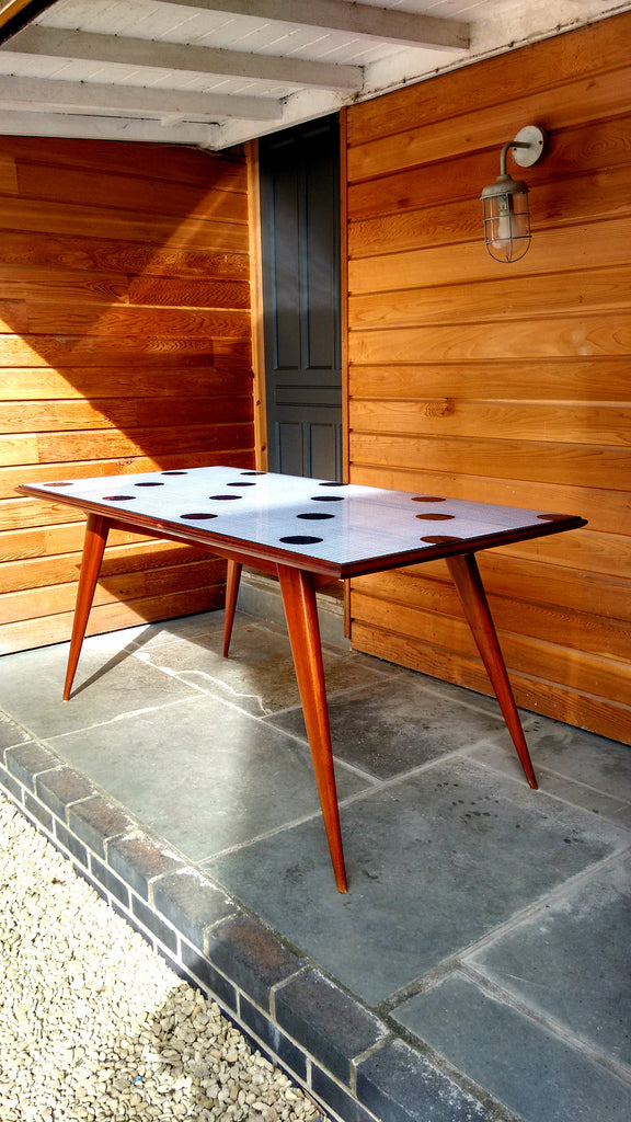 Very Unusual Splay Legged Dining Table With Glass Top Insert