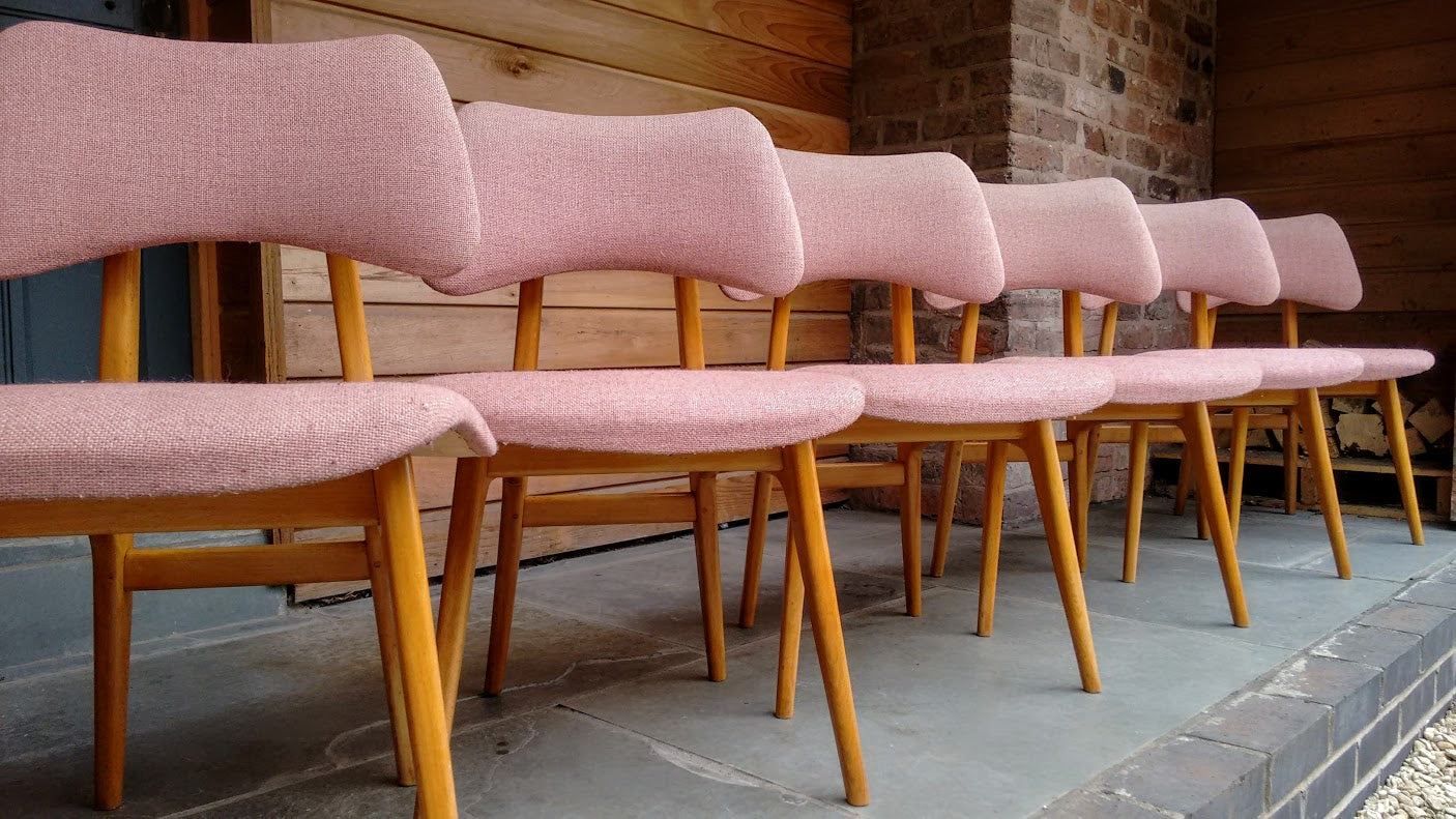 Set of 6 Heals Mid-Century Danish Dining Chairs With Maple Frames ...