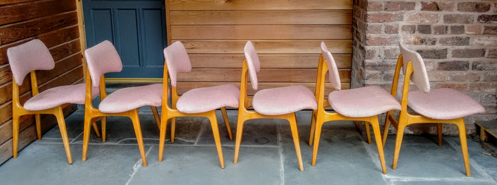 Set Of 6 Heals Mid Century Danish Dining Chairs With Maple Frames