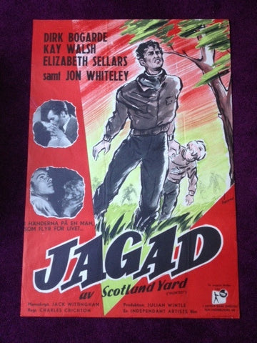 Vintage Swedish Movie Poster For 'Jagad' (Hunted/The Stranger in Between) starring Dirk Bogarde (1952)
