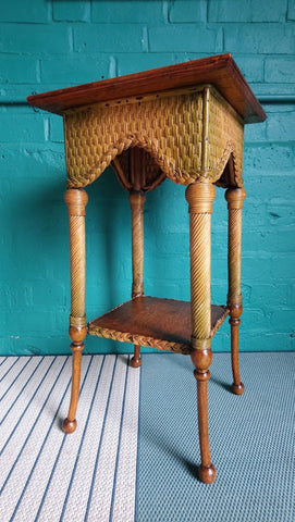 Early 20th Century Oak And Cane Jardiniere Stand