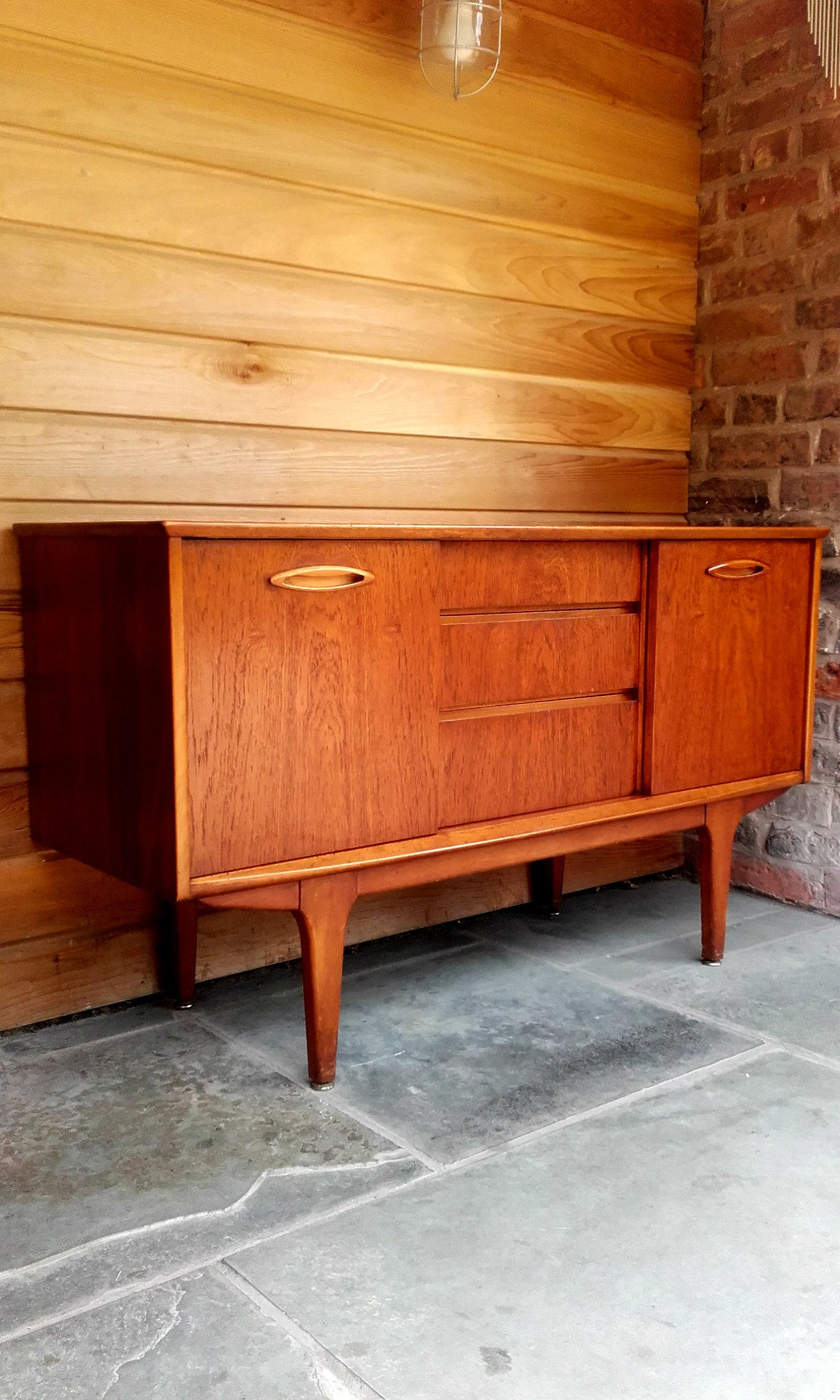 Lovely Compact Jentique Sideboard With Sliding Doors And Unusual