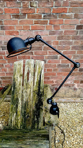 Vintage Jielde Two-Arm Industrial Machinist Lamp by Jean Louis Domencq (1950s)