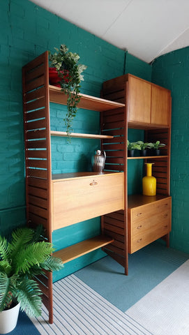 Two Bay Ladderax Shelving System With Bureau, Chest Of Drawers and Cabinet 1960s