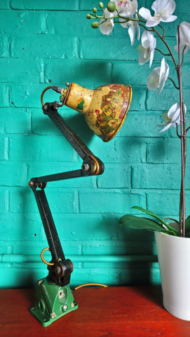 Vintage Industrial Work Lamp With Cigar Band Covered Shade