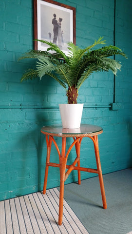 Vintage Lloyd Loom Side Table In Original Orange Paint