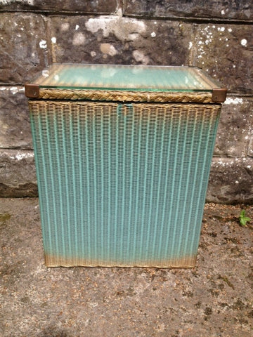 1950s Lloyd Loom Hamper with fitted glass top