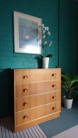 Unusual Mid-Century Meredew Chest of Drawers With Ebonised Finish 1960s