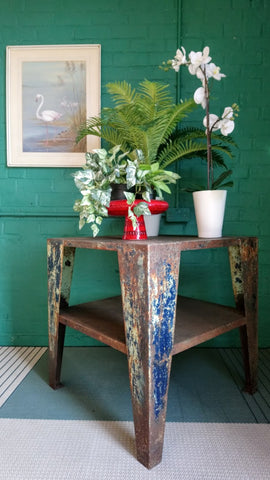 Unusual Vintage Industrial Steel Table In Lovely Distressed Condition