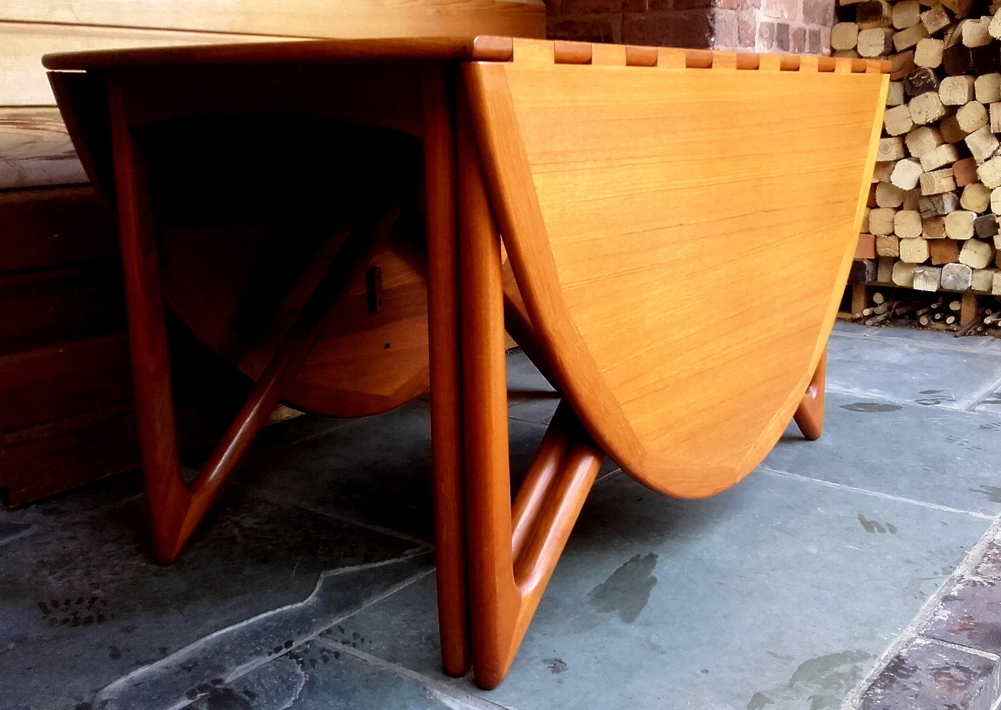 Beautiful Niels Koefoed Drop Leaf Dining Table Model 304 With Wooden Hinges  And Sculpted Legs