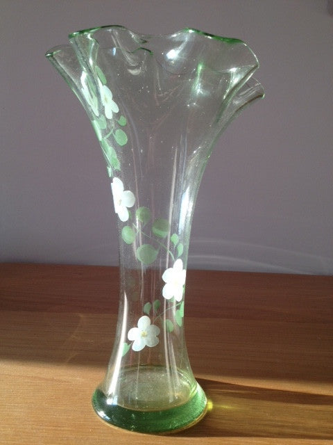c1950s Delicate Pale Green Vase with Hand Painted Flowers