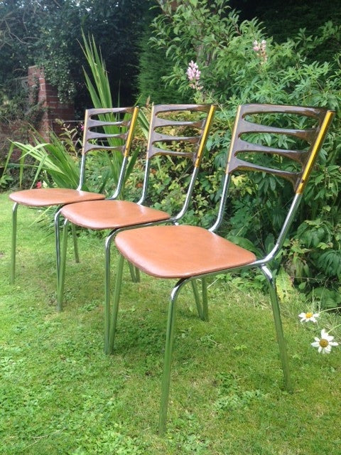3 x Keron Chrome Frame Chairs With Plastic Ladder Backs
