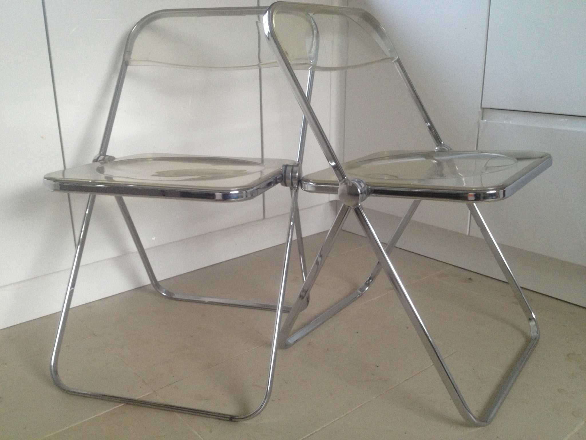 Pair Of Plia Folding Chairs In Chrome And Acrylic By Giancarlo Piretti For  Anonima Castelli Of