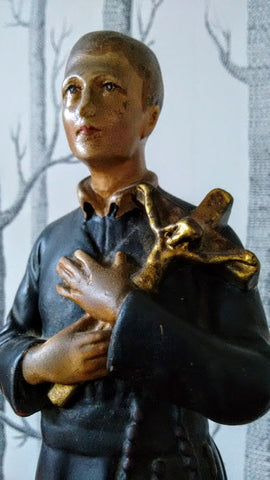 Charming Vintage Plaster Statue Of A Young Priest