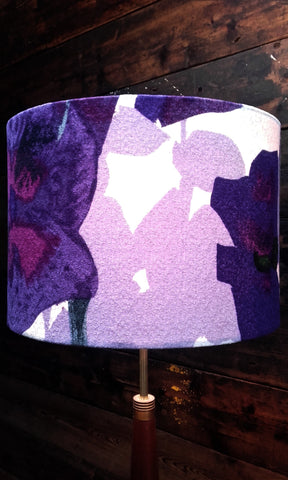 Handmade 30cm Lampshade in Vintage Heals Pansies Purple Fabric