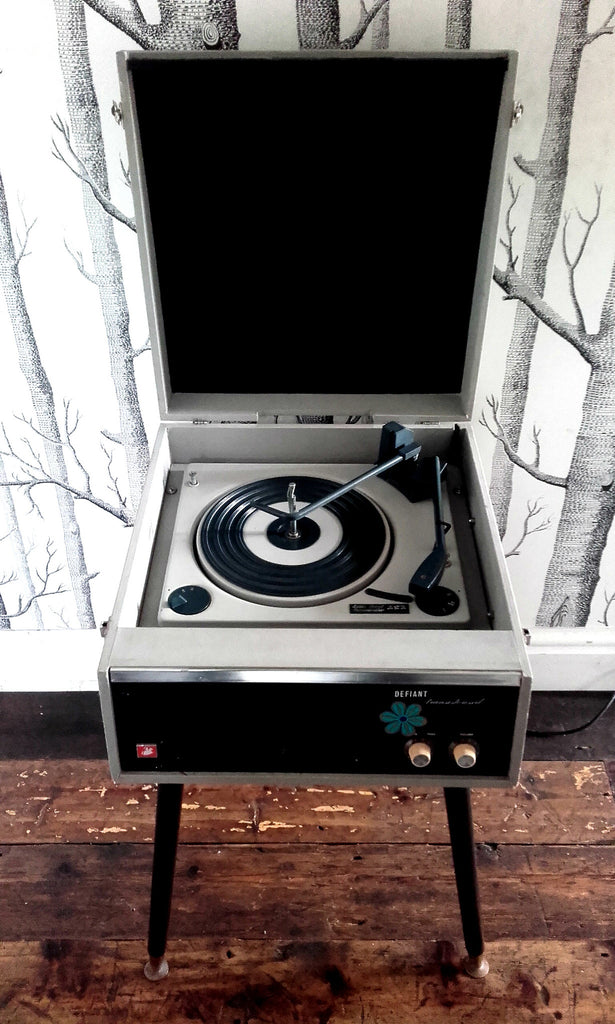 "1960s Defiant ""Transistorised"" Record Player on Dansette Legs"