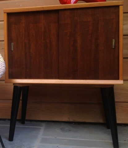 1950s Record Cabinet with Dansette Legs & Red Metal Rack