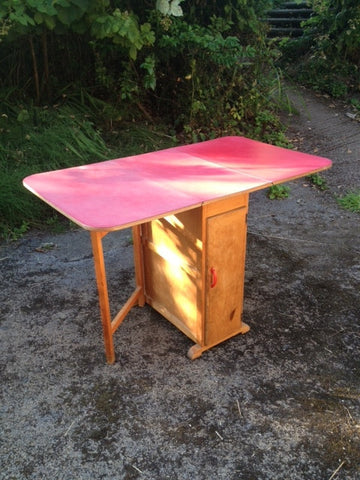 1950s Red Formica Drop Leaf Kitchen Table