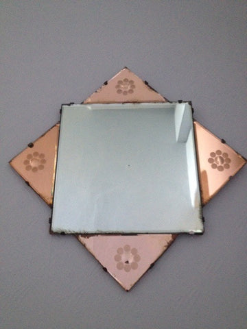 Beautiful Art Deco Rose Tipped Mirror
