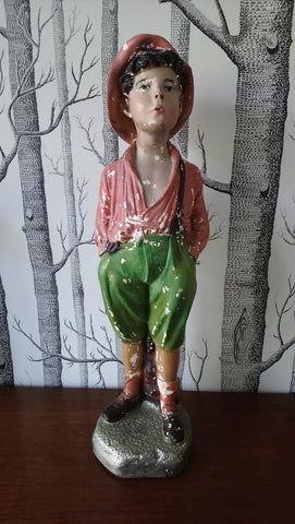 Vintage Painted Plaster Statue Of A Small Boy Whistling