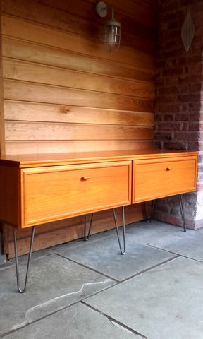 Sleek Late 20th Century Vintage Danish Sideboard By Uldum On Industrial Hairpin Legs (1980s)