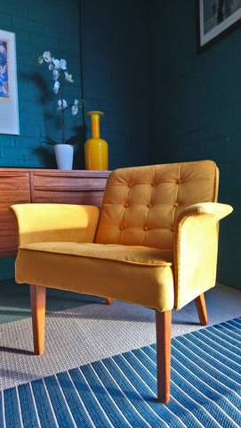 "Beautiful Mid-Century Armchair In Gorgeous ""Turmeric"" Upholstery"