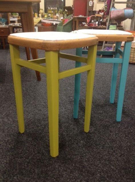 1950s pair of kitchen stools, Autentico painted and reupholstered