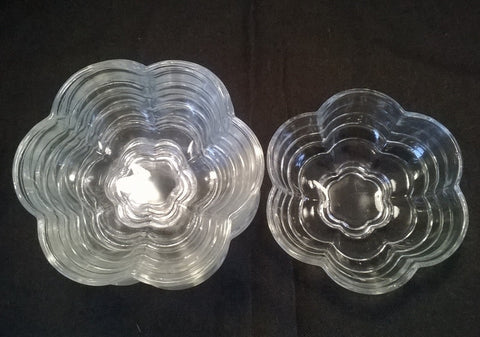 1930s clear pressed glass flower bowls a set of six