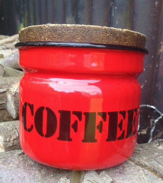 Red enamel storage container for coffee c1970s
