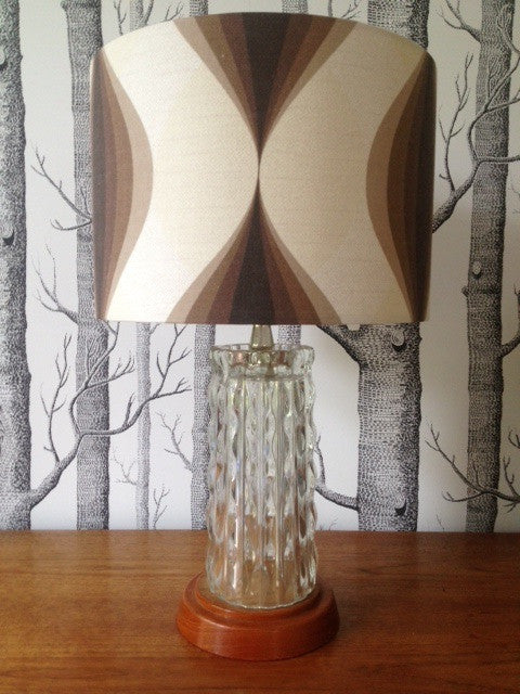 1950s Glass Lamp Base with Teak Base with a Lamp Shade in Vintage 1970s Fabric