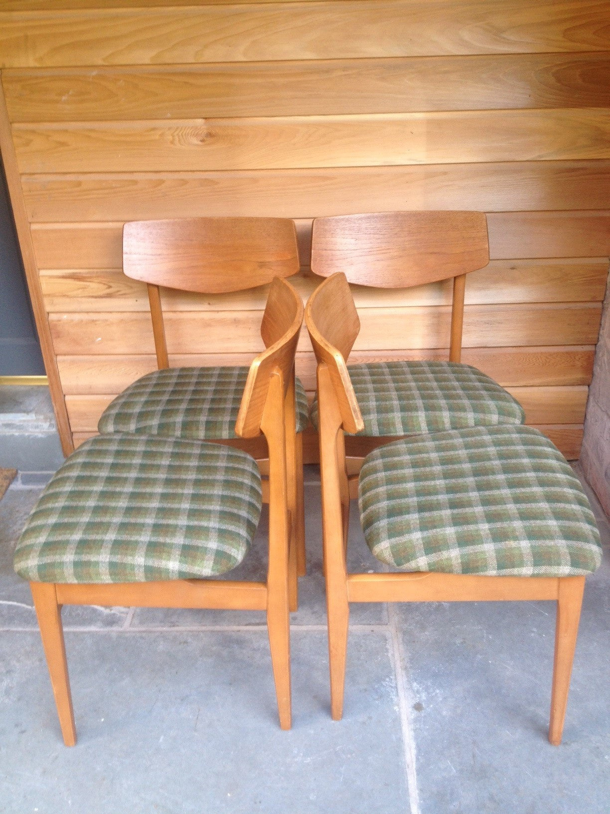 Nathan Dining Chairs with Original Vintage Green Woven Fabric c ...