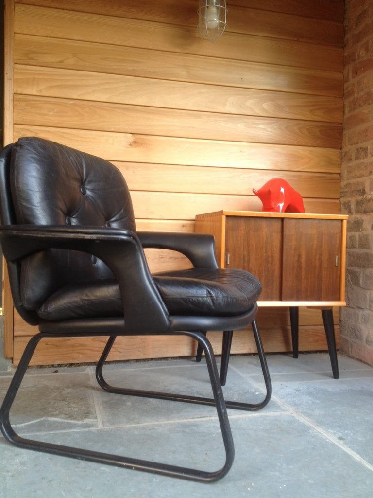 Black Leather Danish Style Chair for Home, Study or Office