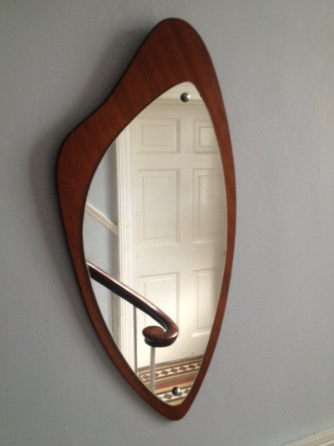 Atomic Retro Mid-century Shaped Teak Edged Mirror 1960s / 1970s