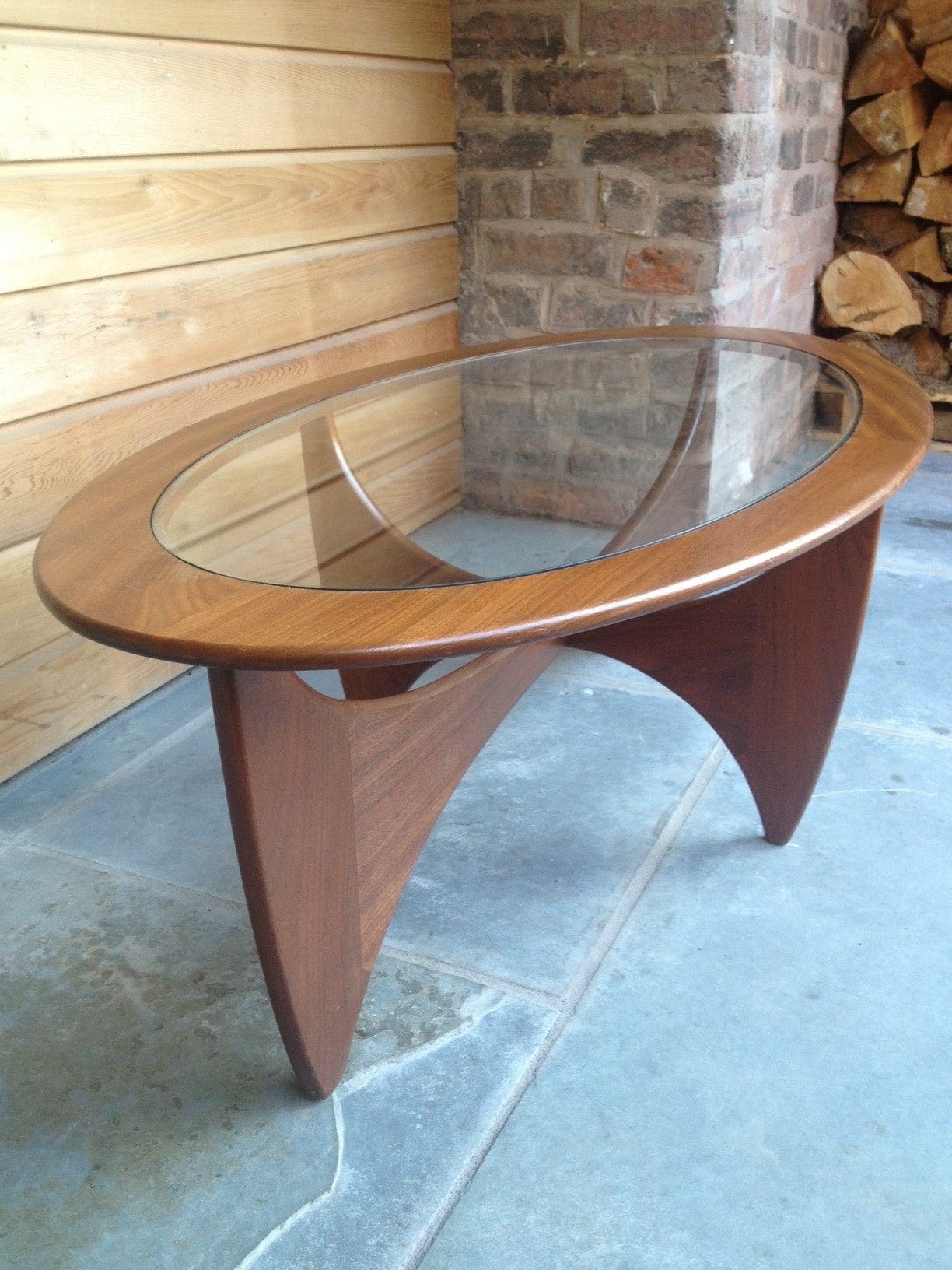 Stunning G Plan Oval Astro Glass and Afromosia Coffee Table 1960s