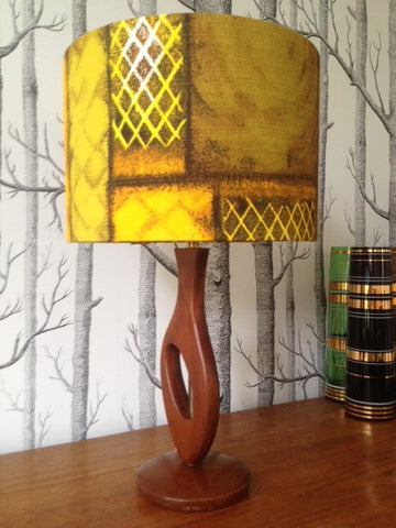 1950s Cut-out Style Lamp Base in Teak and Brass with Vintage Barkcloth lamp shade