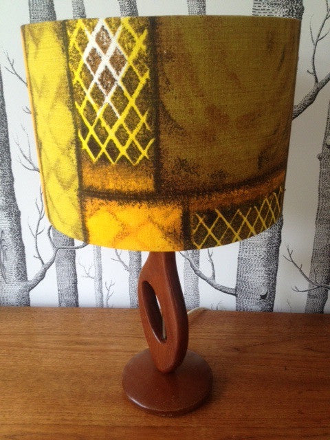 1950s cut out style lamp base in teak and brass with vintage 1950s cut out style lamp base in teak and brass with vintage barkcloth lamp shade aloadofball Choice Image