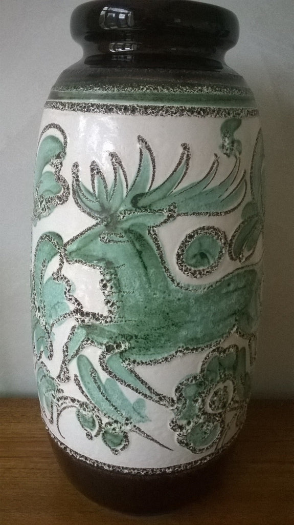 West German Floor Vase decorated with deer and floral pattern 284-53