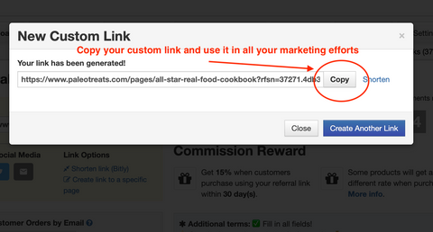 Copy generated link for use in your marketing efforts
