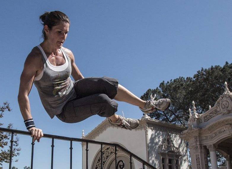 Dr. Alessandra Wall doing parkour