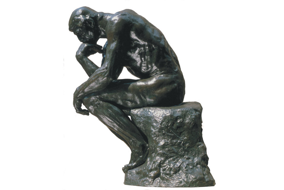 Rodin, The Thinker, thinking of advice to give to his 20 year old self.