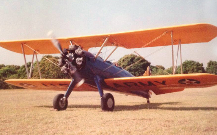 Peter Defty about to get radical while taking off in his Steerman biplane.