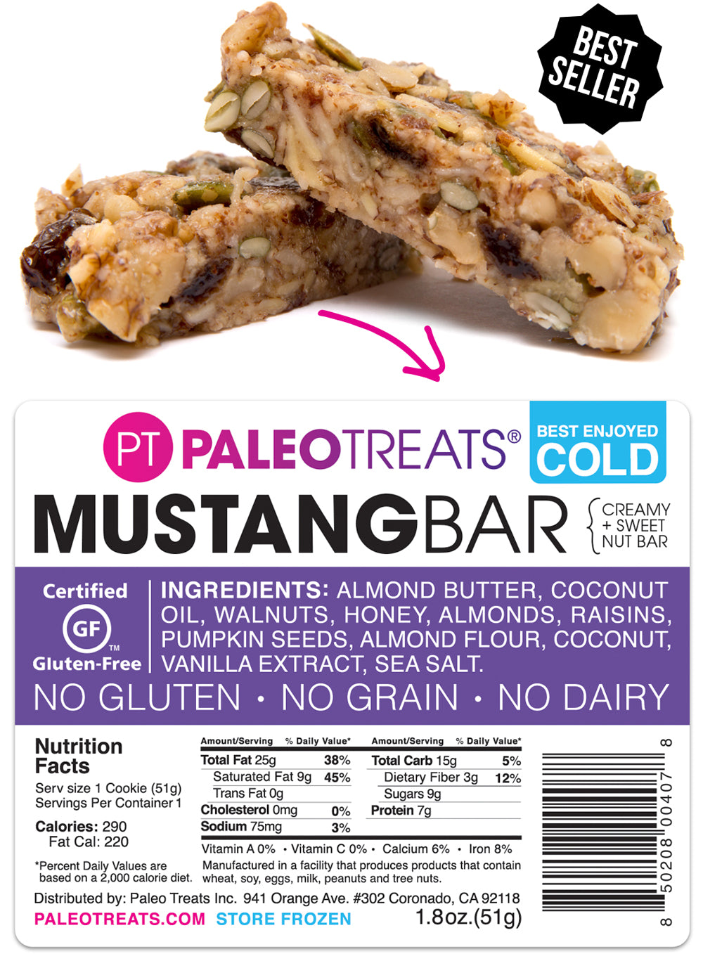 The Mustang Bar, a paleo oatmeal raisin cookie with a granola texture