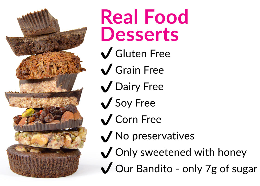 Real Food Paleo desserts including paleo chocolate, brownies, macaroons, and cookies, all of it gluten free
