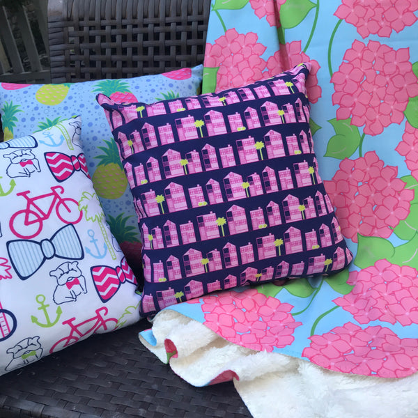 Borough Home Collection: Bright Southern Prints in Blankets, Pillows, Mugs, Shower Curtains and Bath Mats. Charleston, SC