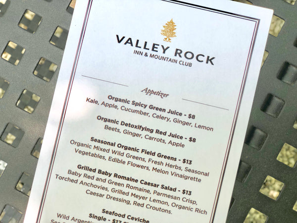 Valley Rock Inn menu