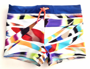 boys fun printed swim trunk with European fit and rust color drawstring