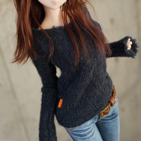 Frayed Knit Sweater (Black)