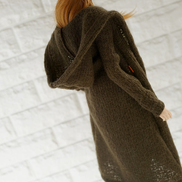 Hoodie Knit Coat (Marsh Green)